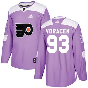 Men's Philadelphia Flyers Jakub Voracek Adidas Authentic Fights Cancer Practice Jersey - Purple